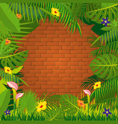 Red brick wall and jungle green frame design vector