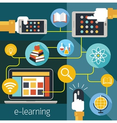 School online e-learning e-book media connect vector
