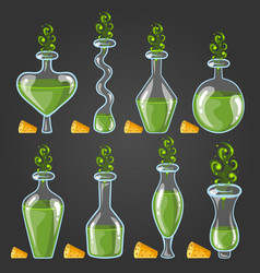 set bottles of potion with magic smoke vector image vector image