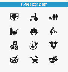 Set of 12 editable infant icons includes symbols vector