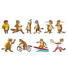 Set of cute beavers sport vector