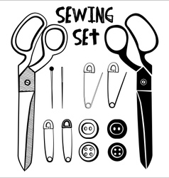 Sewing accessories set in black color vector
