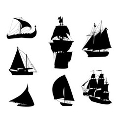 Silhouettes of historic sailing ships-2 vector