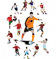 soccer players poster vector image