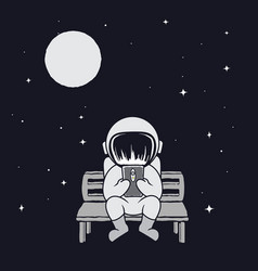 Spaceman sits on bench vector