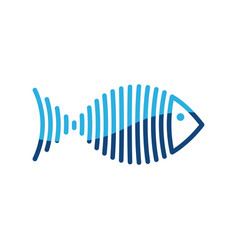 Stylized blue fish is lines logo vector