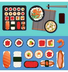Sushi set with different rolls soup and rice vector