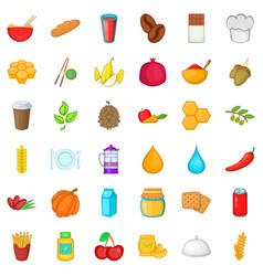 Vegan icons set cartoon style vector