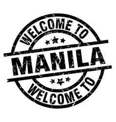 Welcome to manila black stamp vector