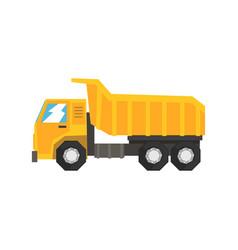 Yellow dump truck heavy industrial machinery vector