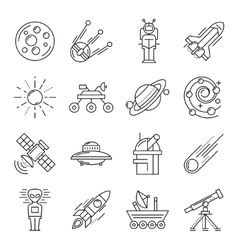 Space line icon set vector