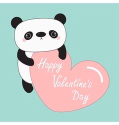 Kawaii panda baby bear happy valentines day cute vector
