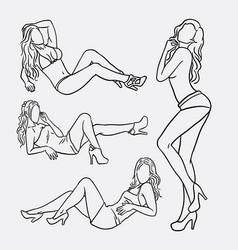 Sexy girl pose sketches vector