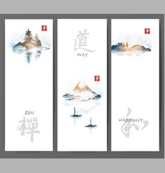 Banners with islands fujiyama and fishing boats vector