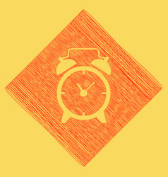 Alarm clock sign  red scribble icon vector