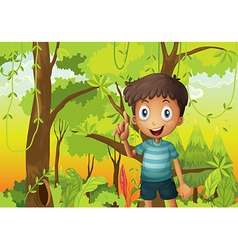 A forest with a young boy wearing a stripe tshirt vector