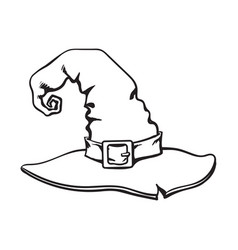 Hand drawn old witch wizard pointed hat vector