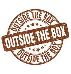 Outside the box brown grunge stamp vector