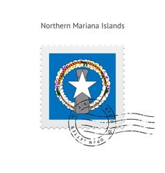 Northern mariana islands flag postage stamp vector