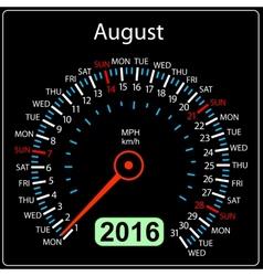 2016 year calendar speedometer car August vector image vector image