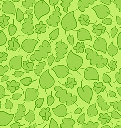 Seamless pattern with bright green spring leaves vector