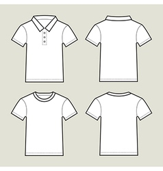 Set of white t shirt templates- front and back vector