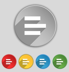 Left-aligned icon sign symbol on five flat buttons vector