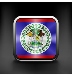 Square icon with flag of belize with reflection vector