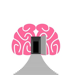 Open door and step of human brain entrance into vector
