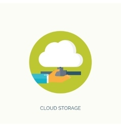 Flat cloud computing background data storage vector