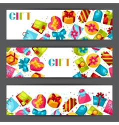 Celebration banners or flayers with colorful gift vector