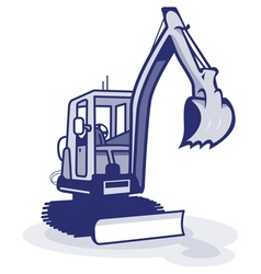 A blue digger machinery vector