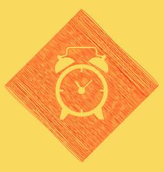 Alarm clock sign red scribble icon vector