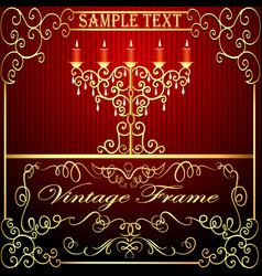 background with burning candles and gold vector image vector image