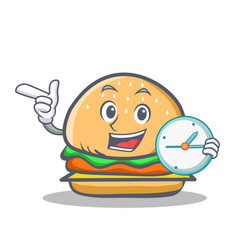 Burger character fast food with clock vector
