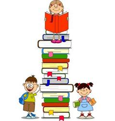 Children and books vector