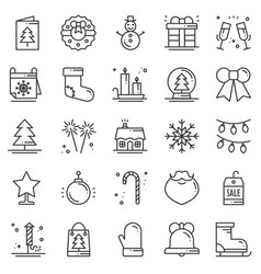 christmas holiday thin line icons set new year vector image vector image
