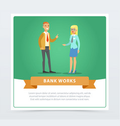 Clients consulting at manager bank works banner vector