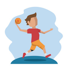 Color scene with faceless handball player vector