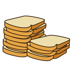 Colorful silhouette stack slices bread bakery food vector