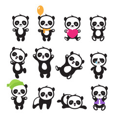 cute cartoon chinese panda bear character vector image