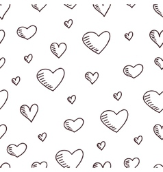 Cute hand-drawn seamless pattern with hearts vector image vector image