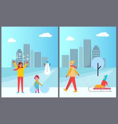 family winter activities city vector image vector image