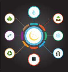 Flat icons playful fish eco energy conservation vector