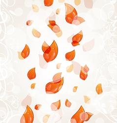 Flying autumn orange leaves background vector image vector image