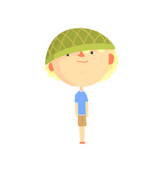 Funny artoon boy in green hat colorful character vector