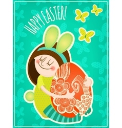 Girl with easter egg vector image vector image