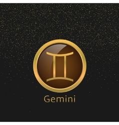 Golden gemini sign vector