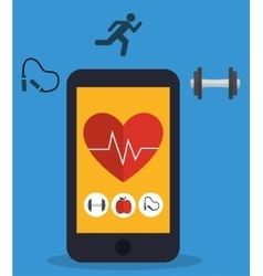 Heart with pulse inside smartphone of fitness vector