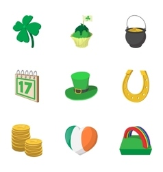 Holiday Saint Patrick day icons set cartoon style vector image vector image
